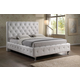 Baxton Studio Stella King Crystal Tufted Modern Bed with Upholstered Headboard in White