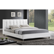 Baxton Studio Vino Queen Modern Bed with Upholstered Headboard in White