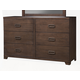 Alpine Furniture Savannah 6 Drawer Dresser in Pecan