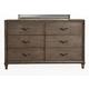 Alpine Furniture Charleston 6 Drawer Dresser with Shelf in Antique Grey