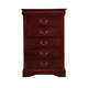 Alpine Furniture Louis Philippe 5 Drawer Tall Boy Chest in Cherry PROMO