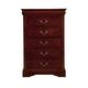 Alpine Furniture Louis Philippe 5 Drawer Tall Boy Chest in Cherry