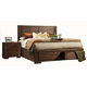 Alpine Furniture Pierre King Storage Panel Bed in Antique Cappuccino