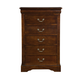 Alpine Furniture West Haven 5 Drawer Tall Boy Chest in Cappuccino