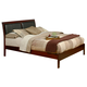 Alpine Furniture Newport California King Platform Bed with Faux Leather Headboard in Medium Cherry