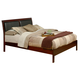 Alpine Furniture Newport Eastern King Platform Bed with Faux Leather Headboard in Medium Cherry