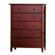 Alpine Furniture Portola Tall Boy Chest in Dark Cherry PB-05DCM