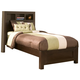 Alpine Furniture Solana Twin Platform Bed with Bookcase Headboard in Cappuccino SK-12T