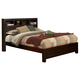 Alpine Furniture Solana Queen Platform Bed with Bookcase Headboard in Cappuccino NSK-01Q