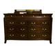 Alpine Furniture Windsor 9 Drawer Dresser in Dark Cherry