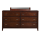 Alpine Furniture Carrington 6 Drawer Dresser in Merlot