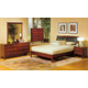 Alpine Furniture Costa 4-Piece Upholstered Platform Bedroom Set in Medium Cherry