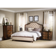 Hooker Furniture Leesburg 4-Piece Upholstered Bedroom Set w/ Wood Rails in Mahogany