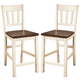 Whitesburg Barstool in Brown - White (set of 2) CLEARANCE