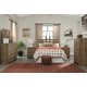 Cinrey 4-Piece Panel Headboard Bedroom Set in Medium Brown