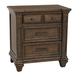 A-America Furniture Gallatin 3 Drawer Nightstand in Timeworn Mahogany GLNTM5750
