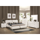 Coaster Felicity 5-Piece Panel Bedroom Set with Metallic Legs in Glossy White