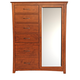 A-America Furniture Grant Park Chifforobe with Mirrored Door in Pecan GPKPE5650