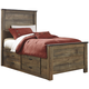 Trinell Twin Panel with Underbed Storage and Rails Bed in Warm Rustic Oak B446SR-TWIN