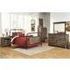 Trinell 4-Piece Metal Bedroom Set in Warm Rustic Oak