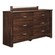 Corraya 6 Drawer Dresser in Medium Brown CLEARANCE