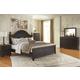 Maxington 4-Piece Panel Bedroom Set in Black/Reddish Brown