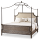 Hooker Furniture True Vintage Queen Upholstered Canopy Bed-Fabric in Light Wood 5701-90150