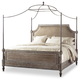 Hooker Furniture True Vintage King Upholstered Canopy Bed-Leather in Light Wood 5701-90166C