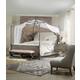 Hooker Furniture True Vintage 4-Piece Upholstered Canopy Bedroom Set in Light Wood
