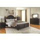 Maxington 4-Piece Panel with Storage Bedroom Set in Black/Reddish Brown