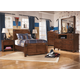Delburne Panel Bedroom 5pc Set in Medium Brown