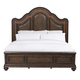 Pulaski Quentin Queen Upholstered Panel Bed in Medium Wood