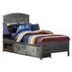 Hillsdale Furniture Urban Quarters Full Panel Storage Bed in Black Steel/Antique Cherry CLEARANCE
