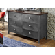 Hillsdale Furniture Urban Quarters 6 Drawer Youth Dresser in Black Steel/Antique Cherry 1265-717 CLEARANCE