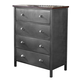 Hillsdale Furniture Urban Quarters 4 Drawer Youth Chest in Black Steel/Antique Cherry 1265-784
