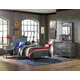 Hillsdale Furniture Urban Quarters 4pc Panel Bedroom Set in Black Steel/Antique Cherry