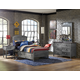 Hillsdale Furniture Urban Quarters 4pc Panel Storage Bedroom Set in Black Steel/Antique Cherry