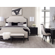 Legacy Classic Symphony 4Pc Upholstered Bedroom Set in Platinum and Black Tie