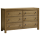 All-American Providence 6 Drawer Dresser in Rustic Maple