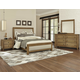 All-American Providence 4pc Upholstered Bedroom Set in Rustic Maple