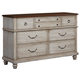 All-American Arrendelle 7 Drawer Dresser in Rustic White with Cherry