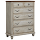 All-American Arrendelle 5 Drawer Chest in Rustic White with Cherry