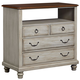 All-American Nordic Kingdom 4 Drawer Media Unit in Rustic White with Cherry