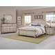 All-American Arrendelle 4pc Mansion Bedroom Set in Rustic White with Cherry
