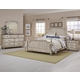 All-American Arrendelle 4pc Poster Bedroom Set in Rustic White with Cherry