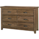 All-American Cassell Park 6 Drawer Dresser in Natural