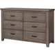 All-American Cassell Park 6 Drawer Dresser in Weathered Gray