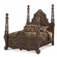 AICO Essex Manor Queen Poster Bed in Deep English Tea