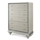 AICO Hollywood Swank 5 Drawer Upholstered Chest in Crystal Croc 03070-09