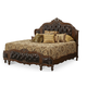 AICO Lavelle Melange Queen Mansion Bed w/ Leather Inserts in Warm Brown